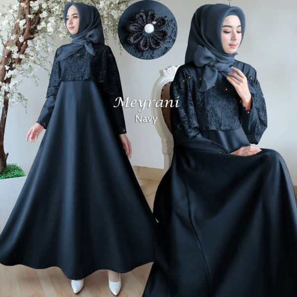 model gamis pesta brukat meyrani navy