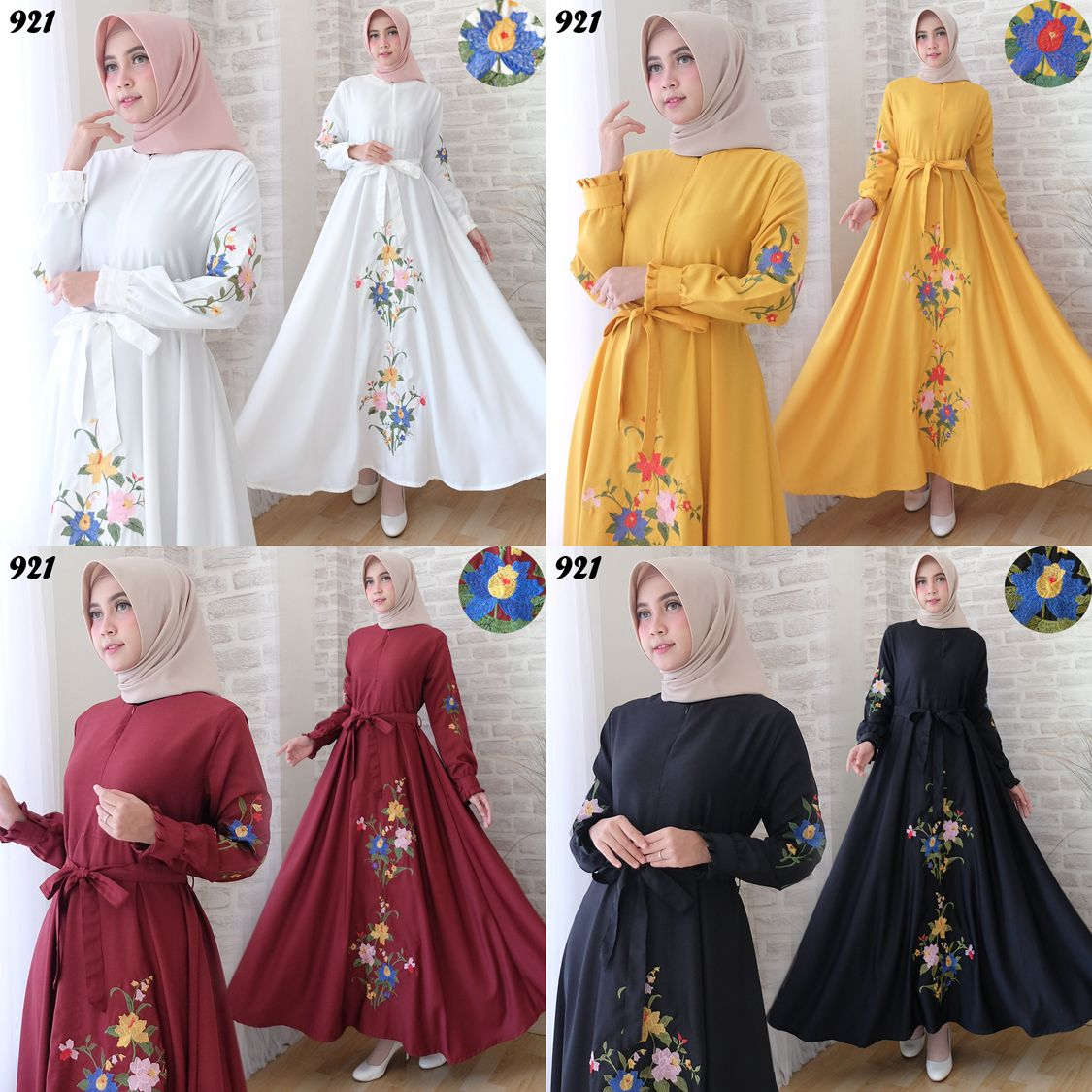 Gamis Satin Bordir - Little Ponny m