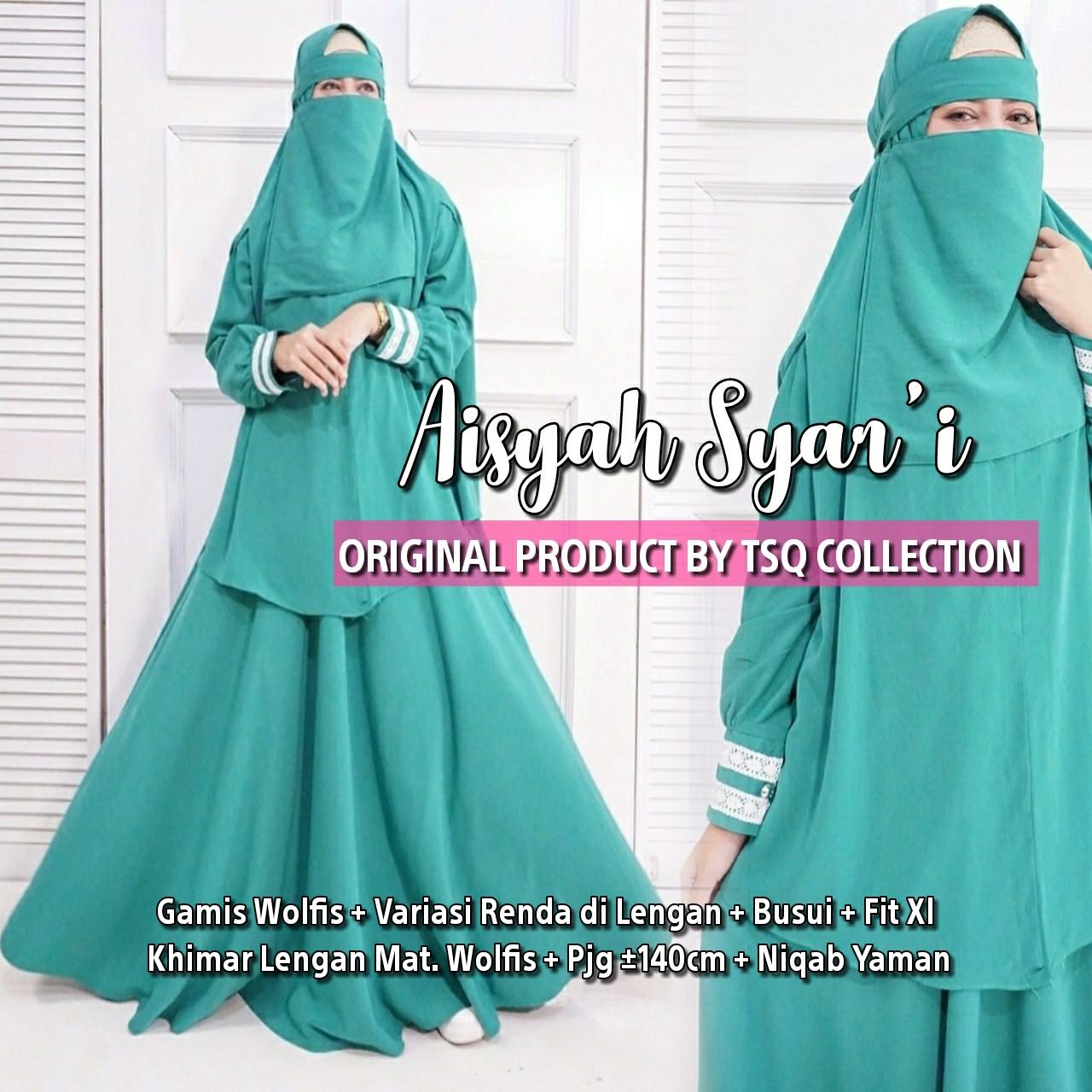 Aisyah Syari Wolfis Plus Cadar Baju Gamis Muslim Butik Jingga