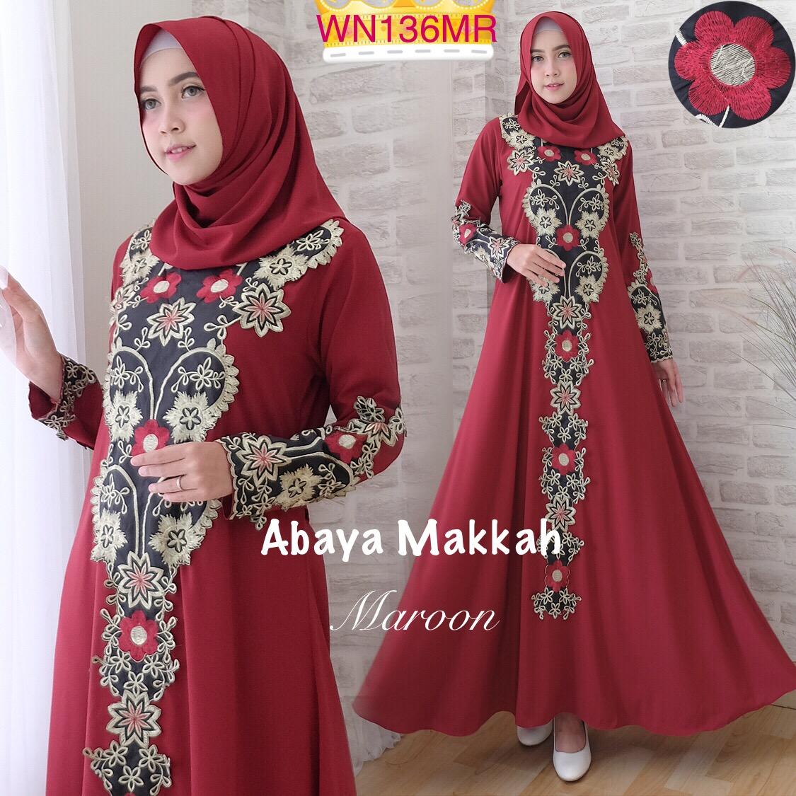 Gamis Abaya Bordir Makkah Size L Baju Muslim Pesta Modern Butik Busana