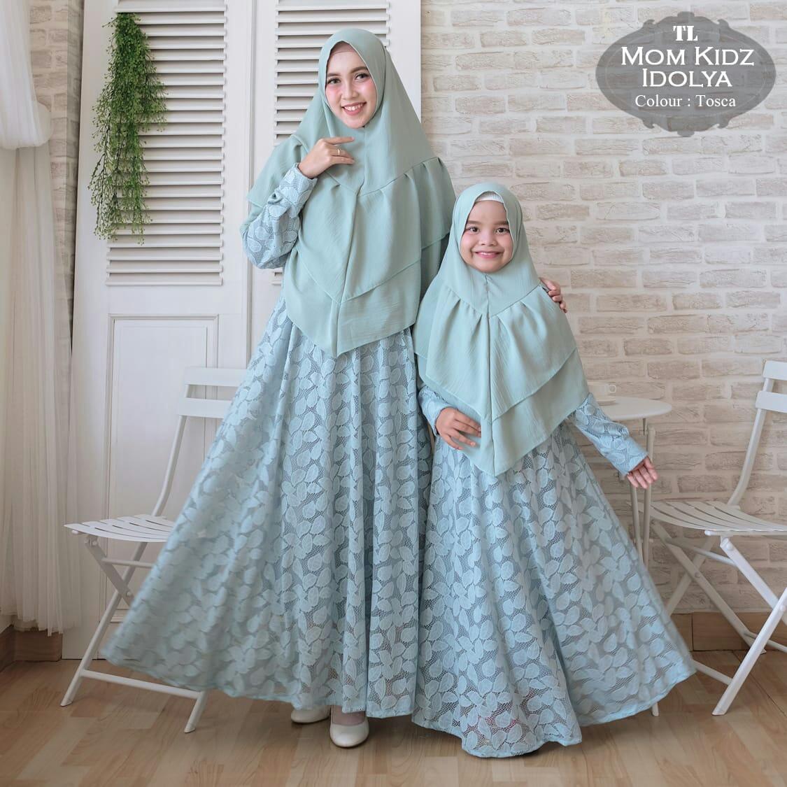 Gamis Couple Brokat Mom-Kid Idolya  Baju Muslim Pesta - Butik Jingga