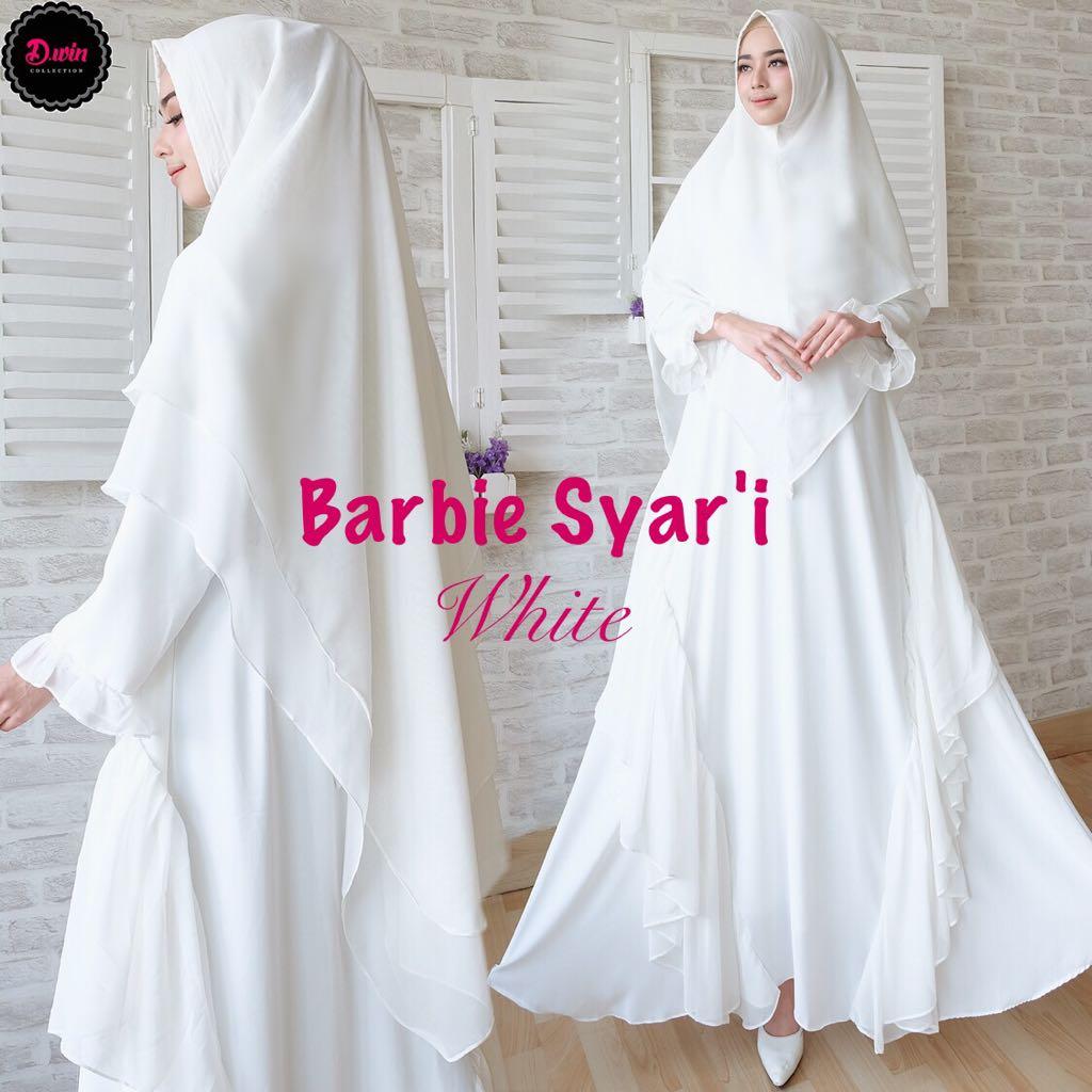 Gamis Syari Premium Barbie Putih Baju Muslim Polos Butik Jingga