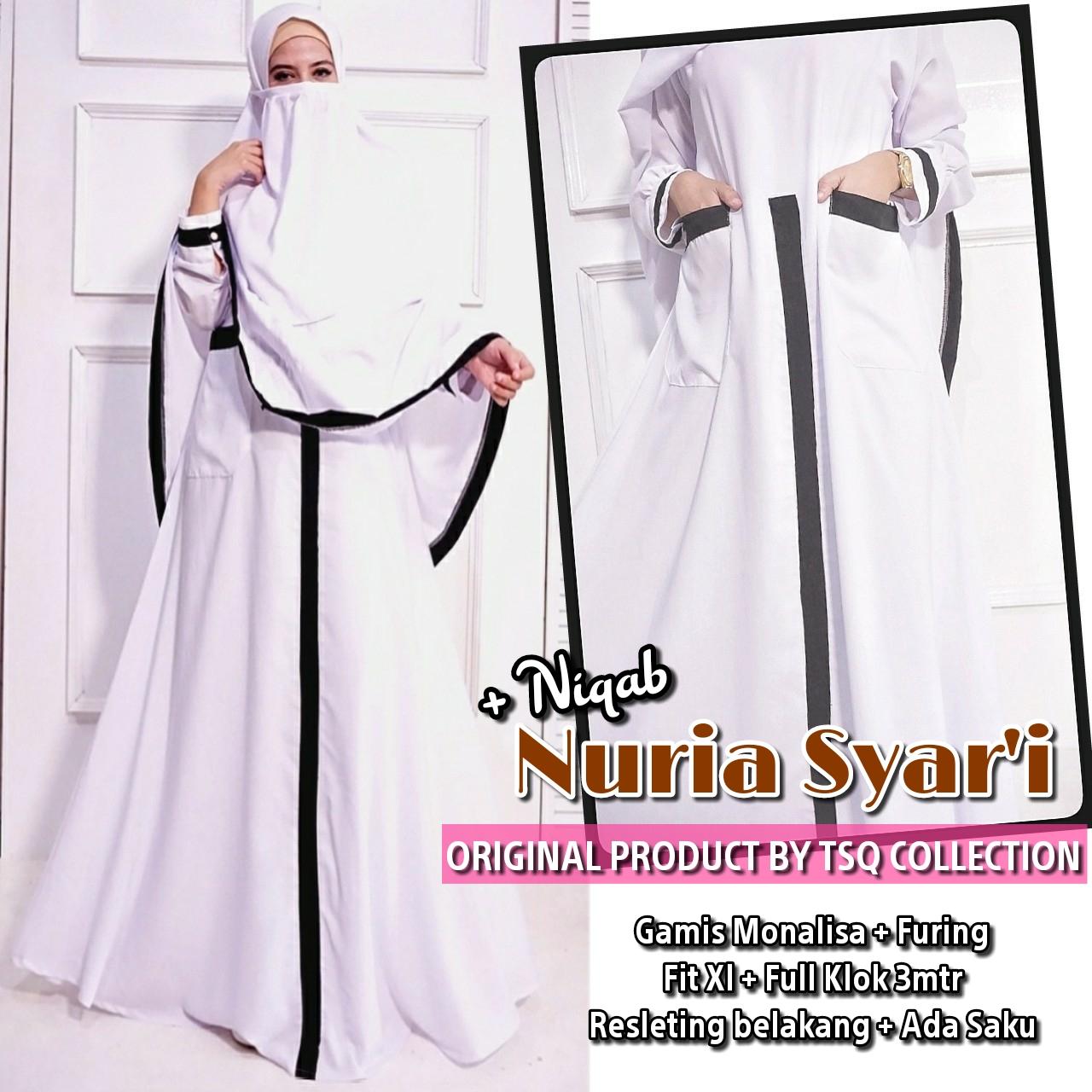 Nuriah Syari Plus Cadar Size Xl Warna Putih Baju Gamis Butik