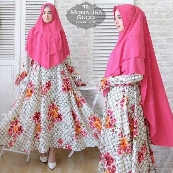 Baju Syari Cantik Modis Bahan Monalisa Motif Bunga