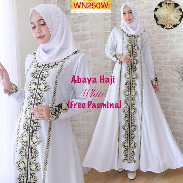 abaya bordir putih haji