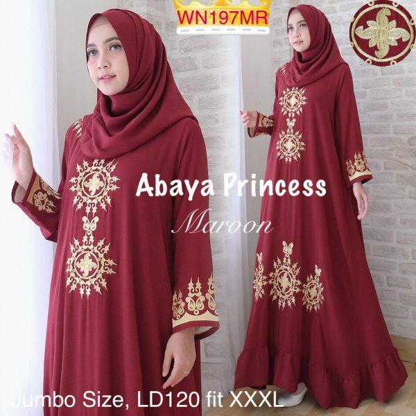 abaya jumbo princess merah maroon