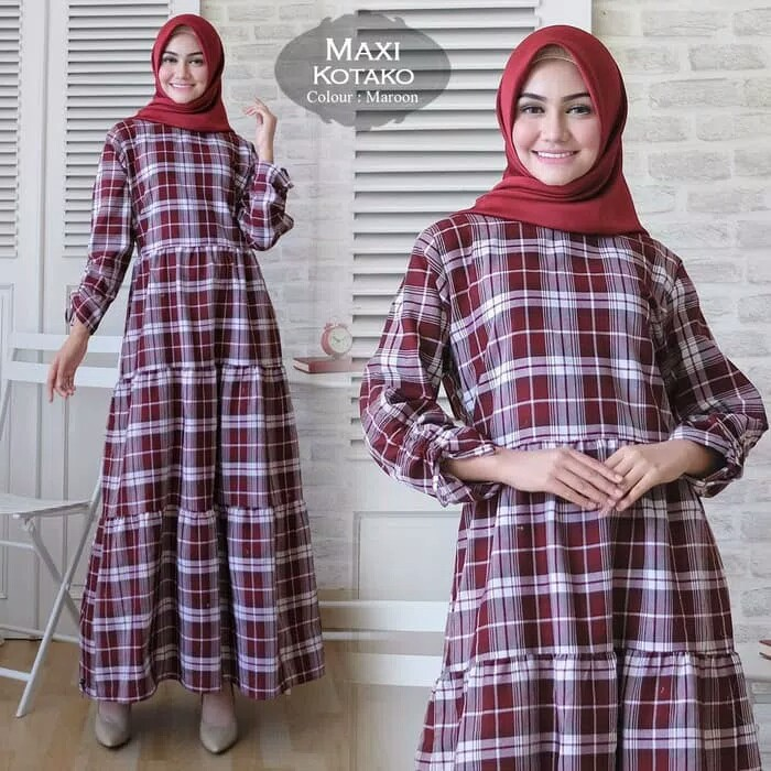 Baju Maxi Katun Motif Kotak Butik Jingga