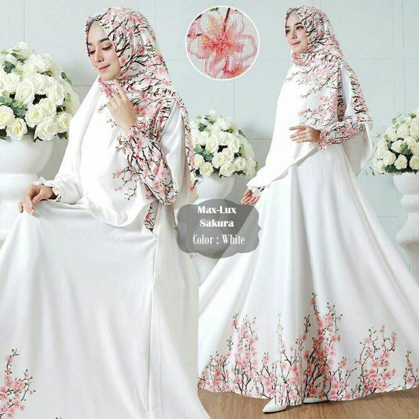 Gamis Syari putih sakura