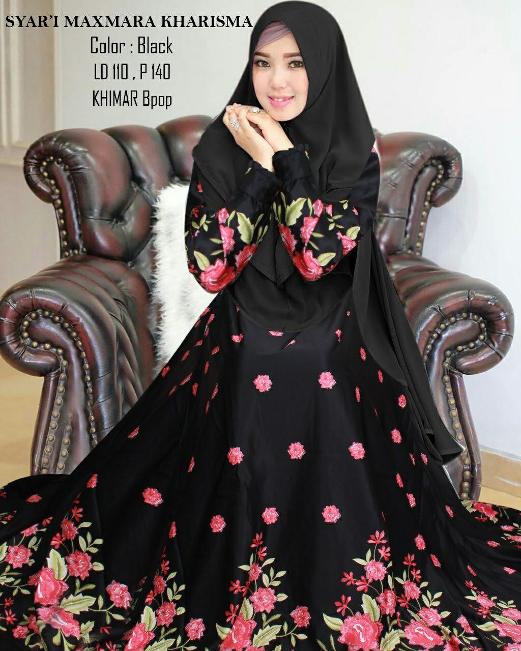 Gamis Maxmara Motif Bunga Kharisma11 - baju Muslim Cantik - Butik