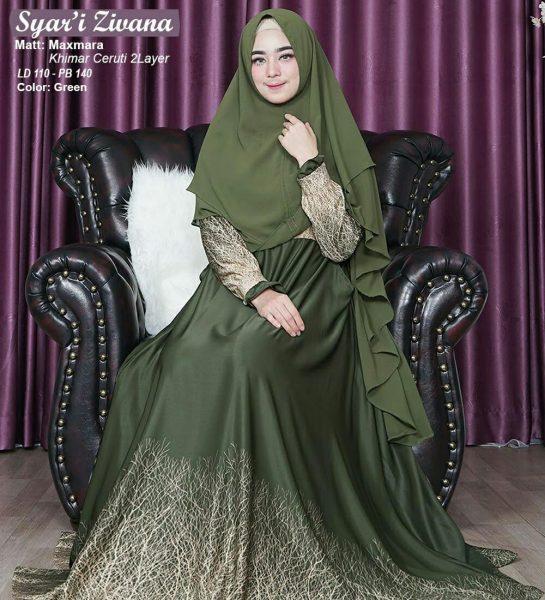 baju gamis maxmara hijau