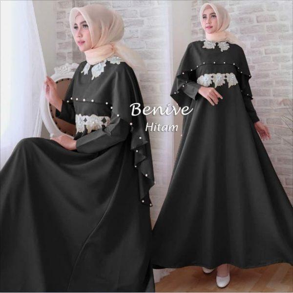 baju gamis pesta benive hitam