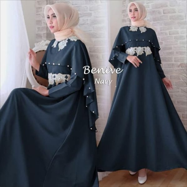 model gamis pesta benive navy