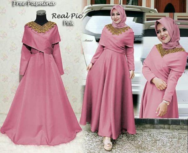 baju gamis modern maxi danisa pink