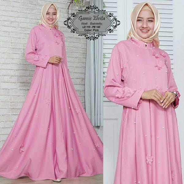 baju muslim modern elvita pink