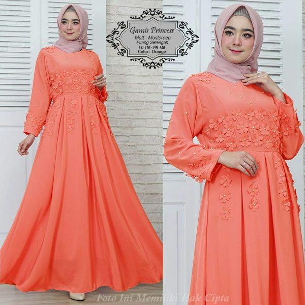 baju muslim pesta gamis princess orange