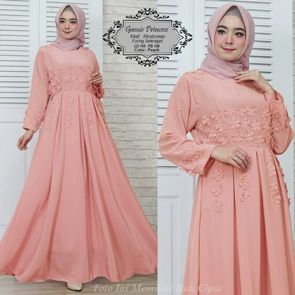 gamis pesta princess peach