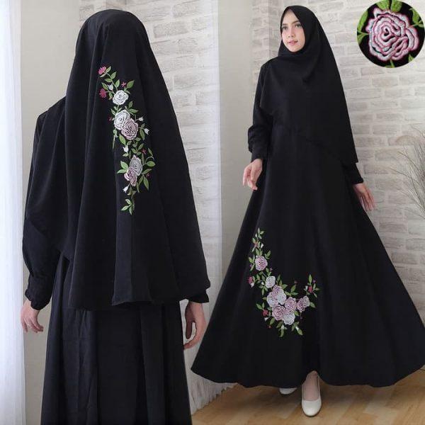 baju muslim lavenia bordir hitam