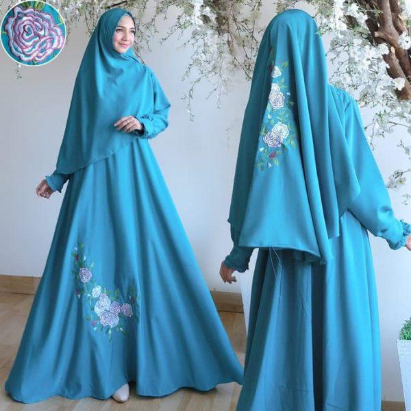 baju muslim murah lavenia bordir tosca