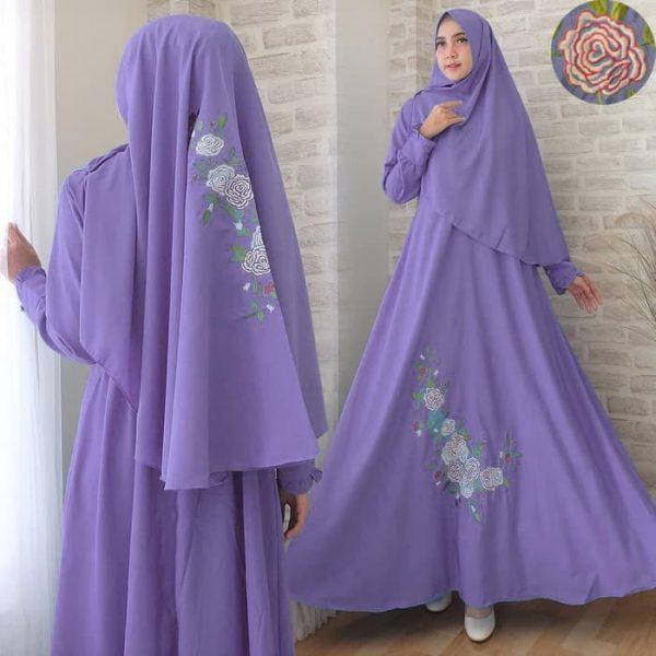 gamis syari ungu bordir lavenia