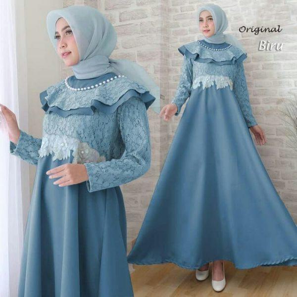 baju muslim pesta liane biru