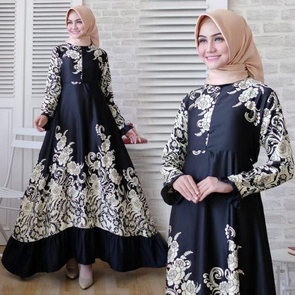 baju muslim batik hitam maxmara carla
