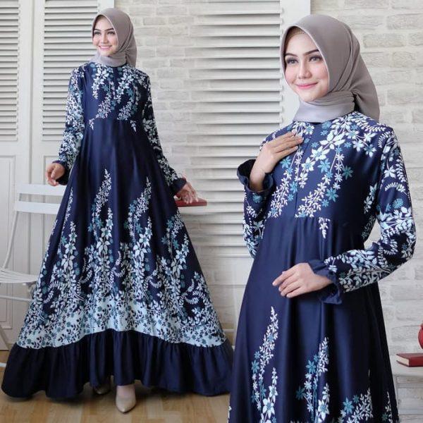 baju muslim pesta maxmara rachel navy
