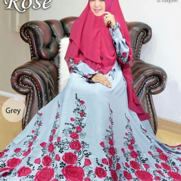 gamis syari motif bunga monalisa rose
