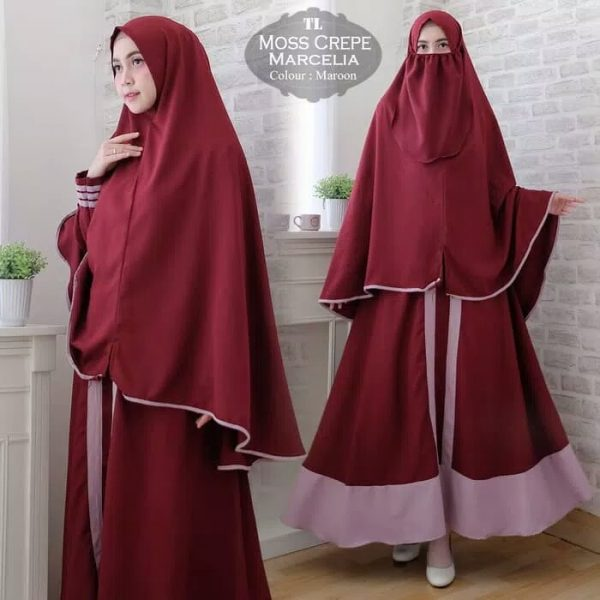 gamis polos cantik Mosscrepe Marcelia