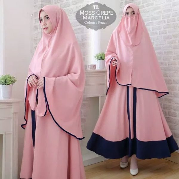 gamis cantik polos Mosscrepe Marcelia