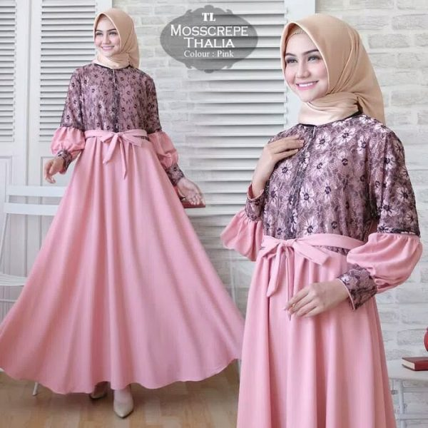 baju muslim pesta thalia pink