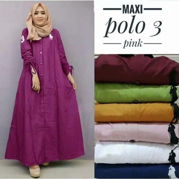 baju muslim remaja maxi polo pink
