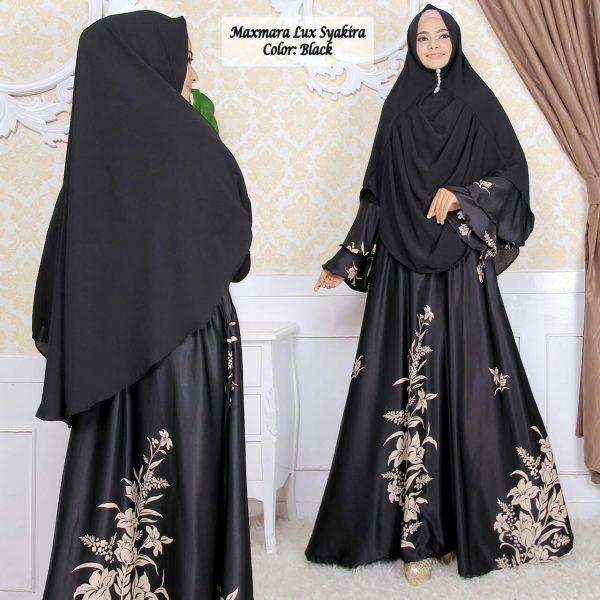baju muslim warna hitam syakira