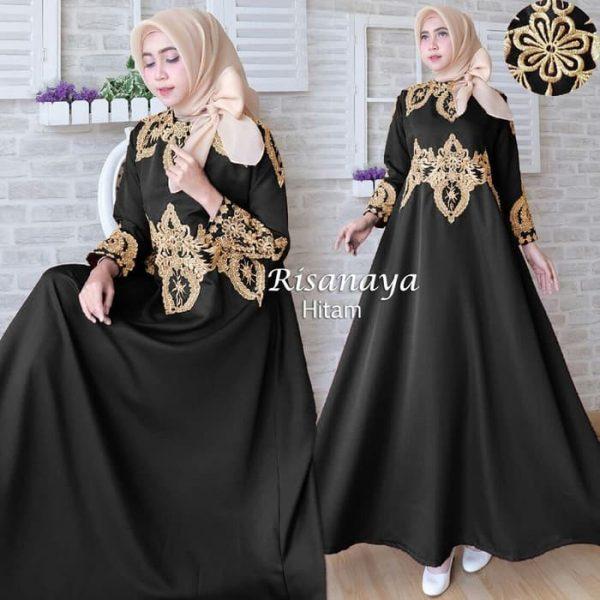 baju muslim pesta risanaya hitam