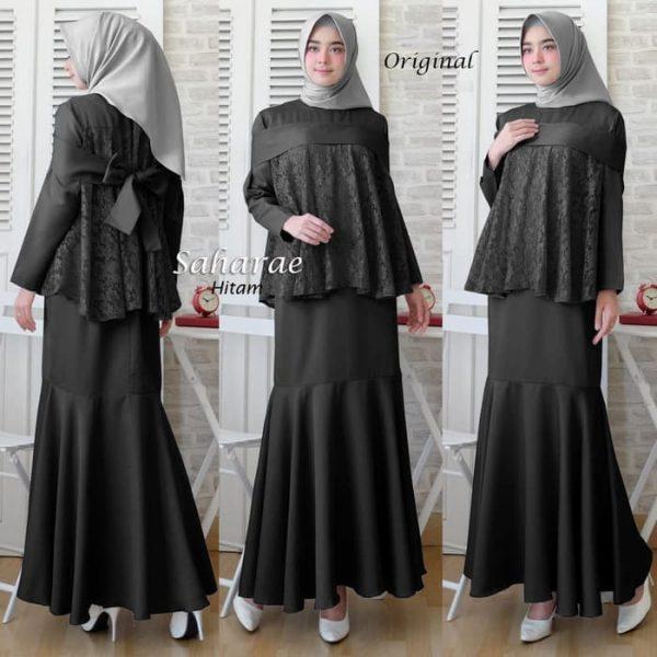 baju muslim pesta brukat saharae hitam