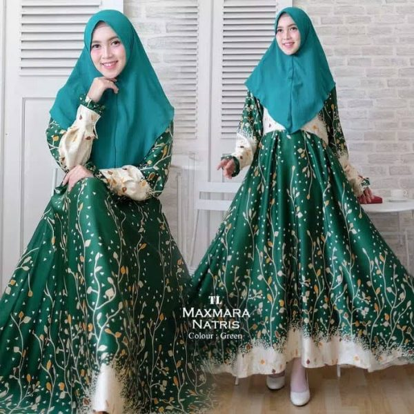 baju gamis jumbo Maxmara Natris hijau