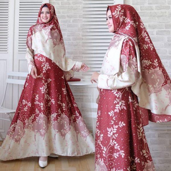 baju setelan batik maxmara nona marun