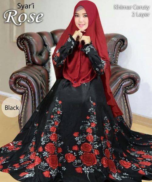baju muslim SYARI MONALISA ROSE hitam