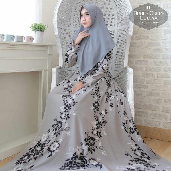 baju gamis syari motif bunga ludiya abu