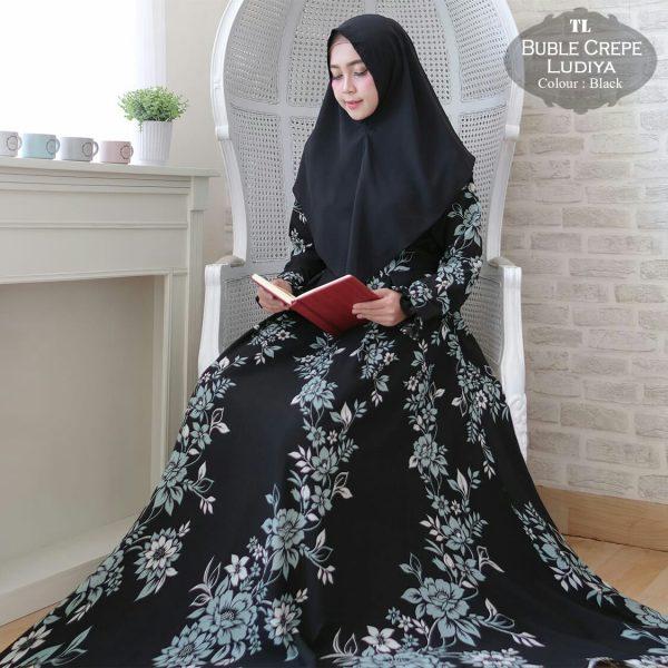 model gamis modern ludiya hitam