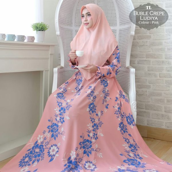 baju muslim motif bunga ludiya pink