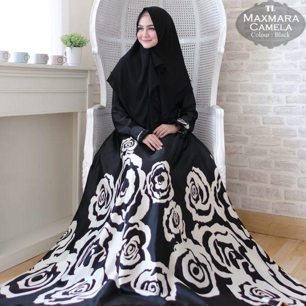 gamis jumbo warna hitam maxmara camela