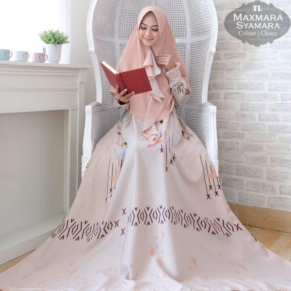 baju muslim jumbo maxmara syamara choco