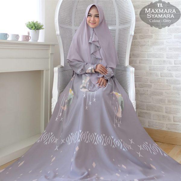 baju muslim maxmara jumbo syamara abu